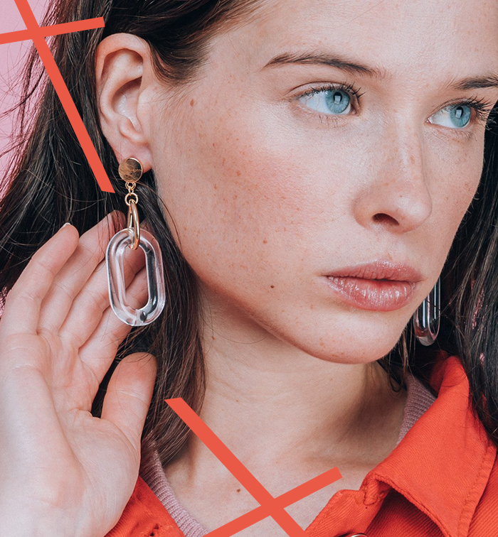 Boucles d'oreilles pendantes en plexiglas