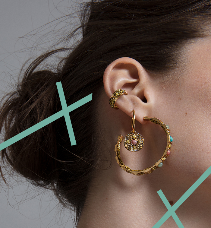 Boucles d'oreilles créole en laiton et or