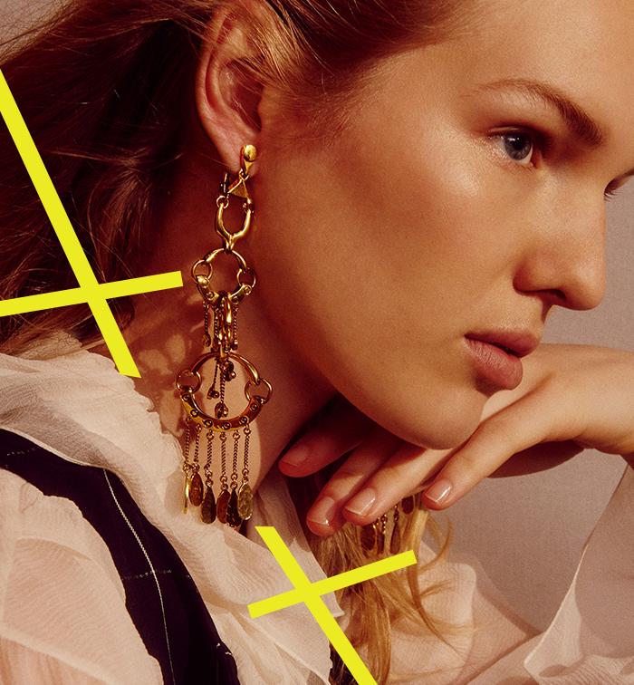 Boucles d'oreilles pendantes en laiton doré