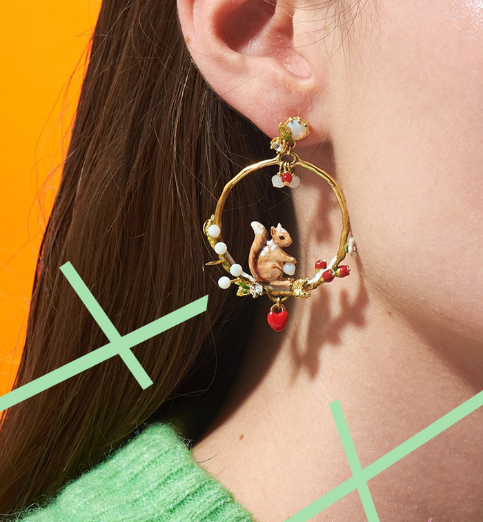 Boucles d'oreilles créole avec écureuil et perles