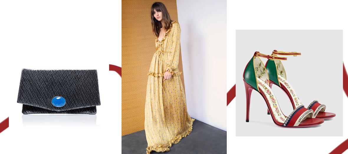 Robe longue en soie Oud, Pochette Gaya chevrons bleus Sestra Paris et Sandales en cuir avec cristaux Gucci
