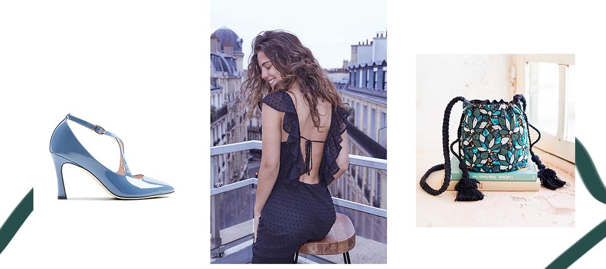 Robe Vaugirard décolletée dans le dos Parisienne et alors, Bourse Agra brodée de perles Sézane et Escarpin Izia Repetto
