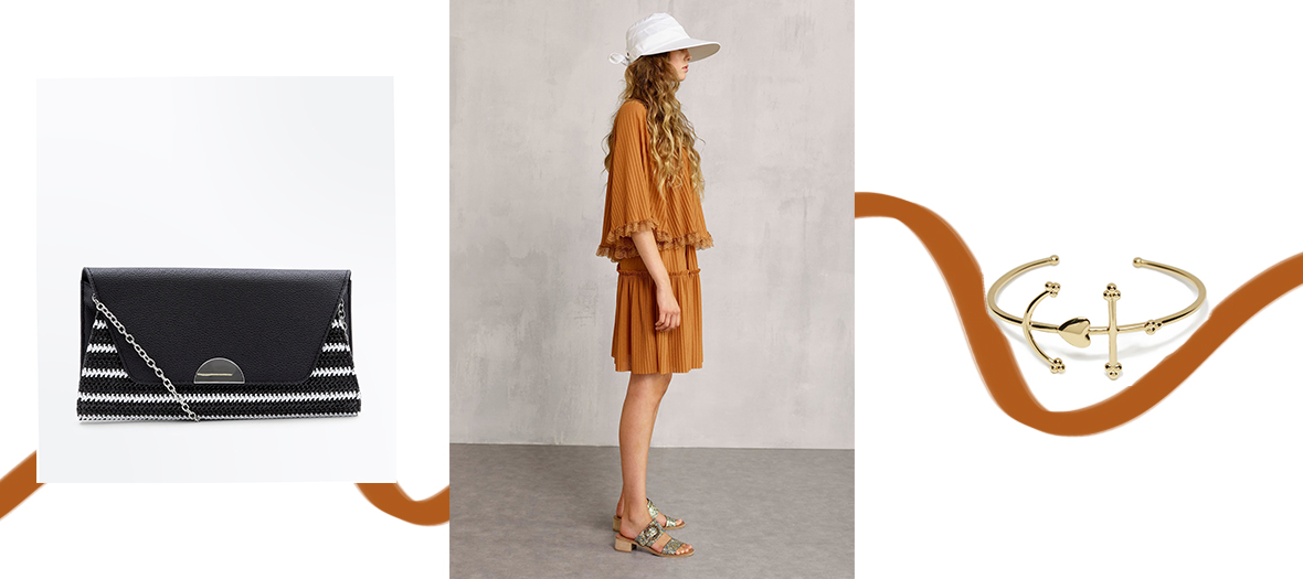 Robe vaporeuse See By Chloé, Pochette blanche tissée à rayures New Look et Manchette Neptune en vermeil Agnès de Verneuil,