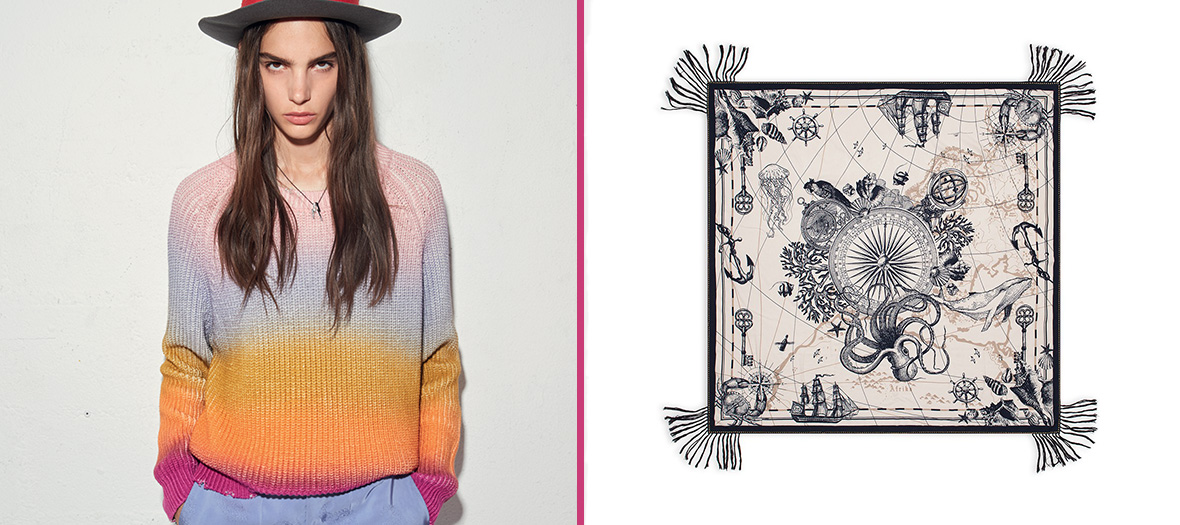 Pull arc-en-ciel en laine et coton, foulard
