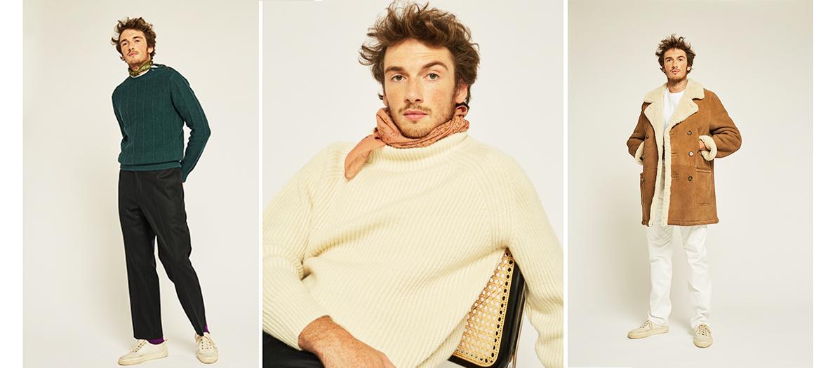 manteau en peau lainée, maille en mérinos couleur crème, pantalon en flanelle