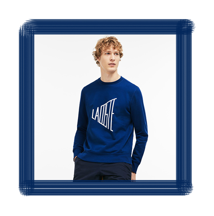 Sweat-shirt bleu col rond