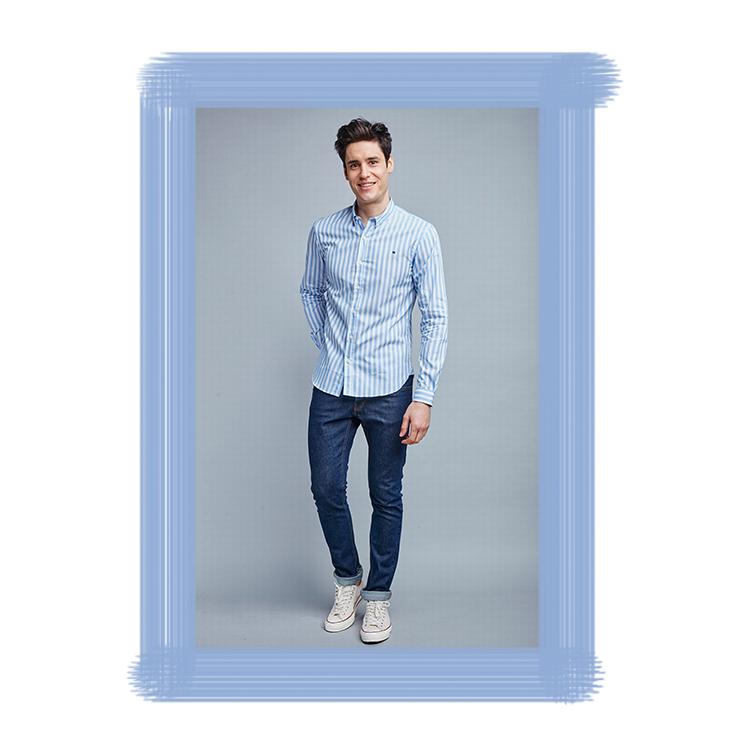 Chemise rayée bleue et blanche