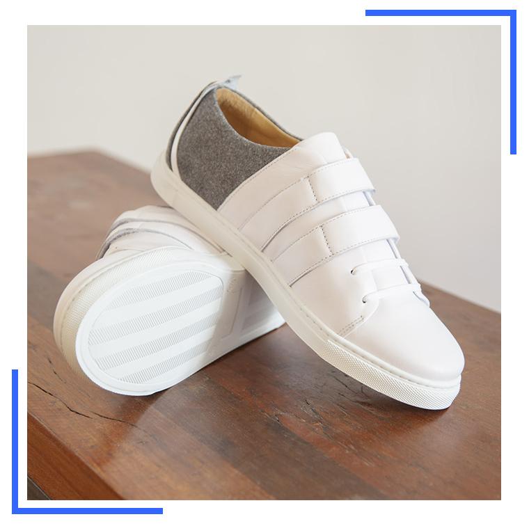 Baskets en cuir blanc et flanelle grise