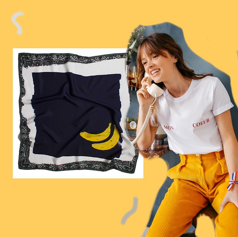 Tshirt Plan Cœur Elise Chalmin, foulard en soie Heart Heart Heart