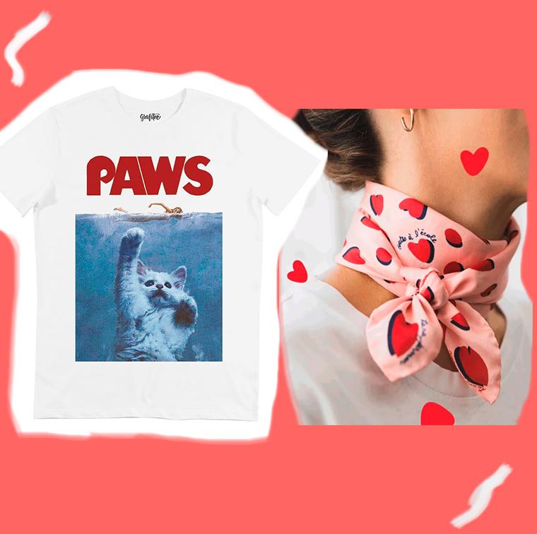 T-shirt Chaton De La Mer Grafitee, carré de soie rose Tara Jarmon