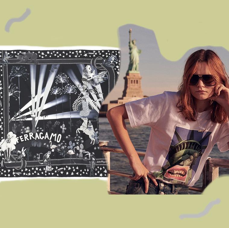 T-Shirt Reilly x Marc Jacobs, foulard en soie Salvatore Ferragamo