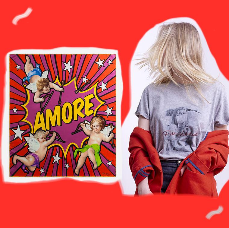 T-shirt Pigalle gris chiné Parisienne et alors, foulard imprimé en soie Dolce & Gabbana
