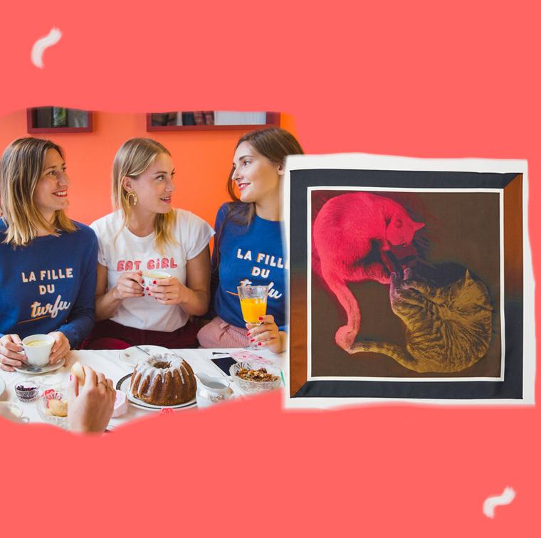 T-shirt Eat Girl Sept Cinq, foulard en soie H&M