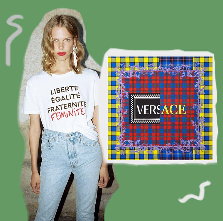 T-shirt Rose Association x Printemps, Carré de soie logo vintage tartan Versace