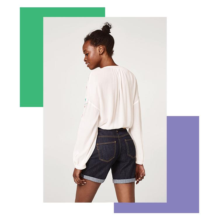 Short en jean avec poches hautes