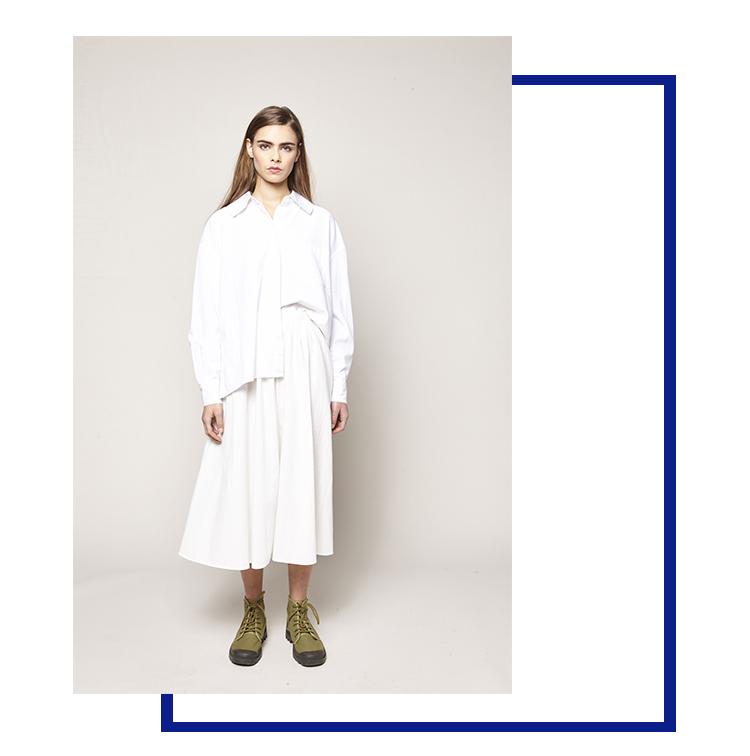 chemise XXL blanche et robe blanche plissé taille haute