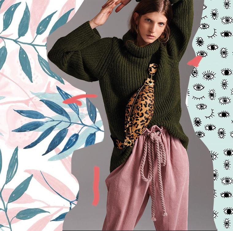 Pantalon en velours rose et sac banane léopard