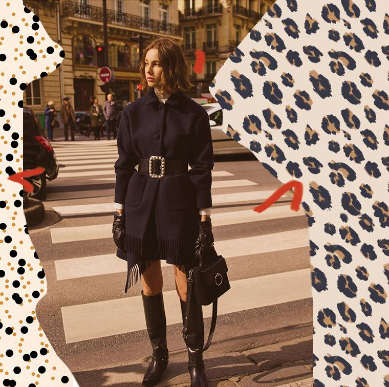 Manteau en laine, ceinture large à perles, sac bi-matière, gants en cuir et bottes en cuir