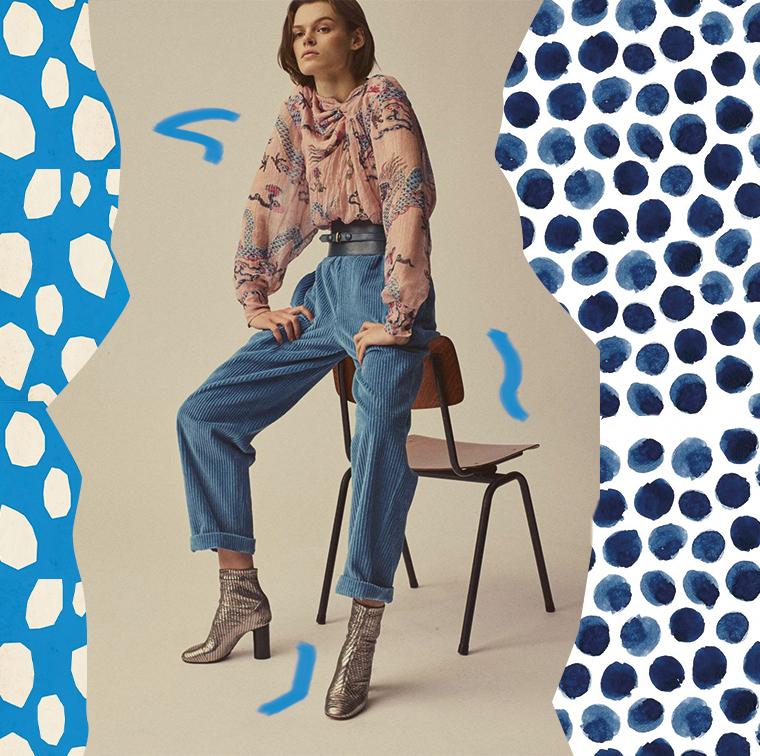 Haut metallise et imprime, pantalon large en velours, bottines et ceinture