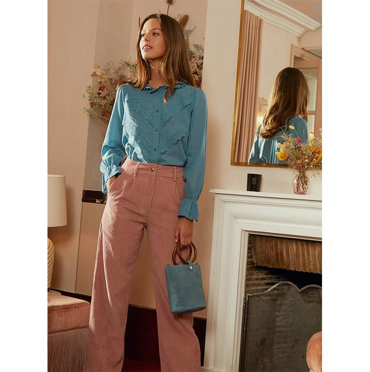 pantalon en velours côtelé rose poudré