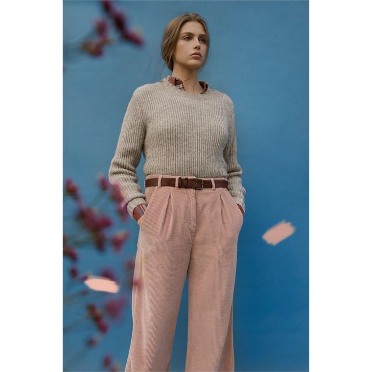 Pantalon en velours large et droit