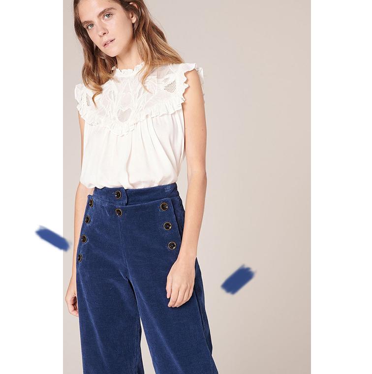 Pantalon en velours taille haute et boutons