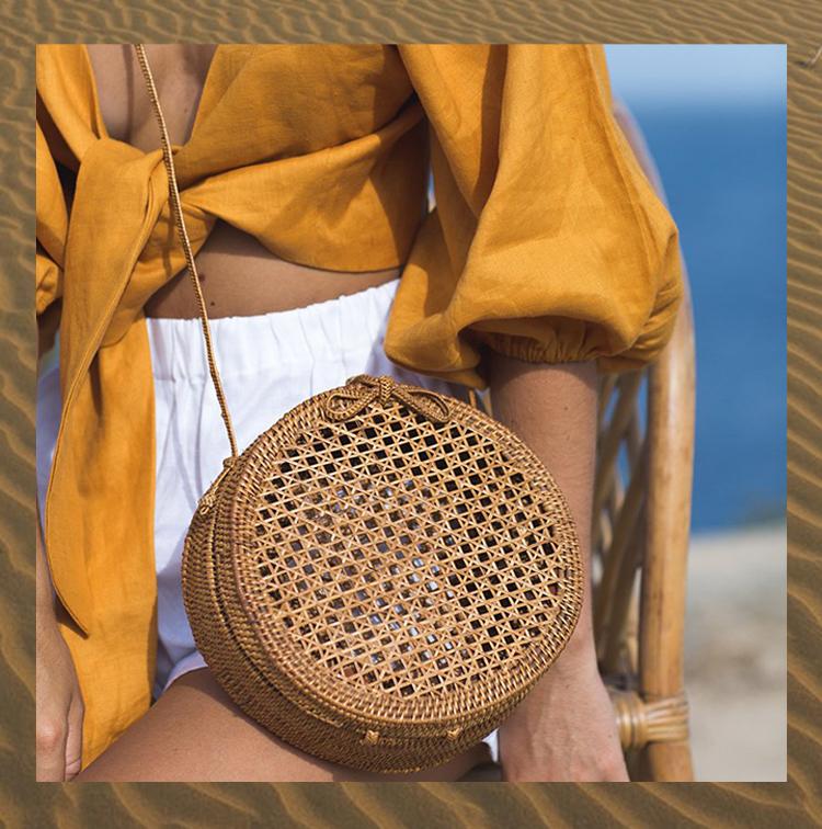 panier rond et en fibre de coco