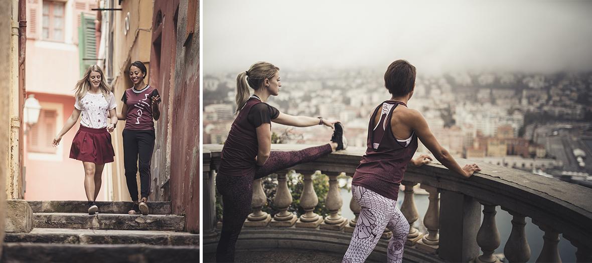 vêtements de sport fonctionnels et urbains, legging à motif bordeaux, blouson réversible
