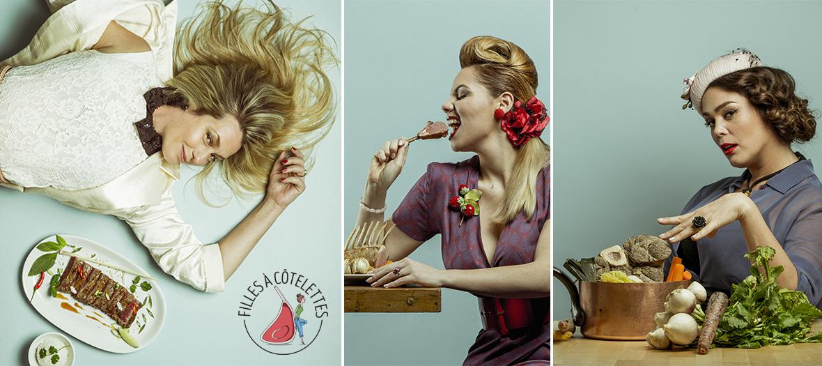 Portrait de Lola Dewaere, Inès Olympe Mercadal, Joséphine Draï au club des filles à Cotelettes