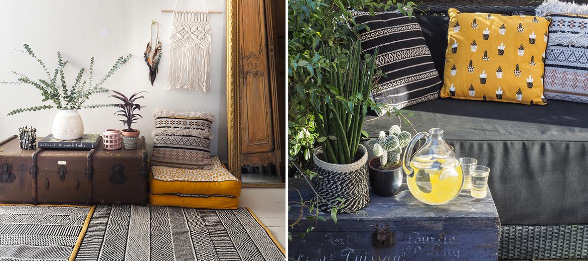 Coussin noir à rayures, en laine, noir et blanc, blanc ananas ou coussin de sol jaune à pois