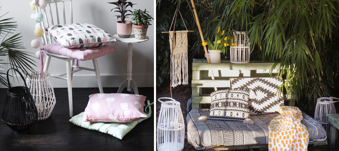 Lanterne en céramique rose, noire en bambou, en céramique vert foncé, en bambou