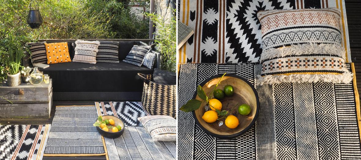 Tapis motif losanges, tapis motif wax, tapis 100% coton à rayures