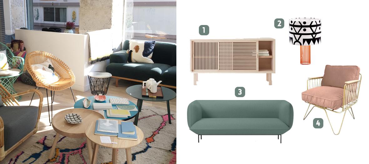 Buffet, lampe, canapé, fauteuil