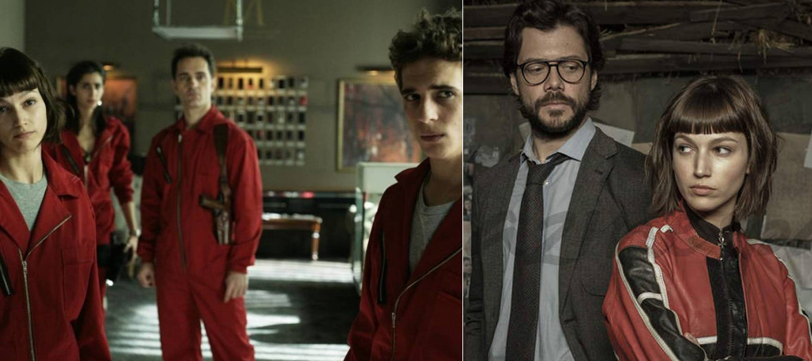 Extract from the serie casa de papel with Úrsula Corberó, Álvaro Morte, Pedro Alonso, Miguel Herrán and Alba Flores