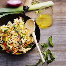 Recette wok de poulet sauté au soja, poireaux et carottes