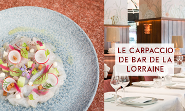 The sea bass carpaccio recipe of the La Lorraine restaurant