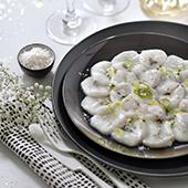 Recette light pour les fetes de noel, carpaccio de saint jacques avec vanille et citron