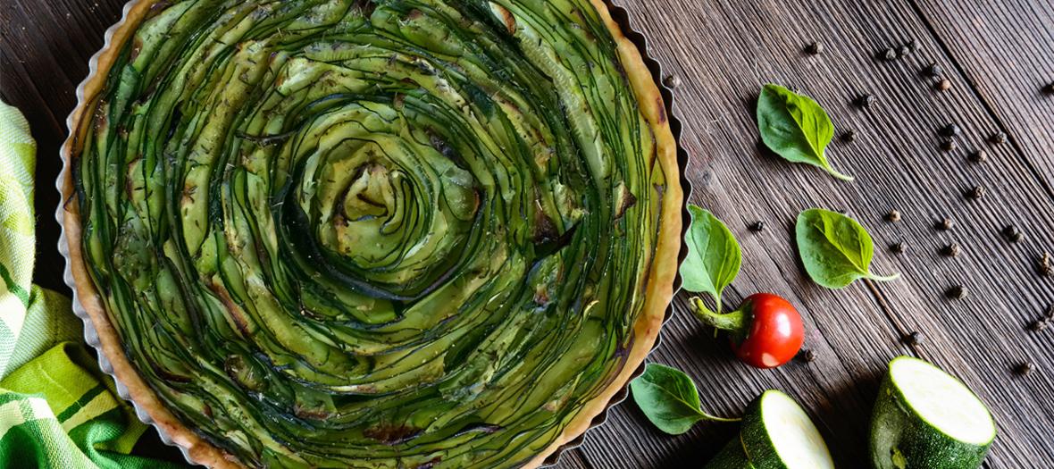 Recette tarte ruban aux courgettes et au kiri