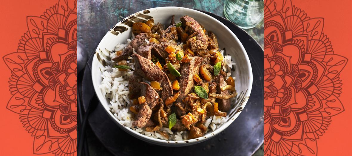 foie de veau accompagne d'un riz basmati aux epices indiennes