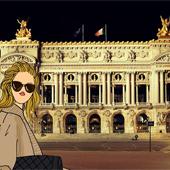 Façade de nuit de l'Opéra Garnier à Paris