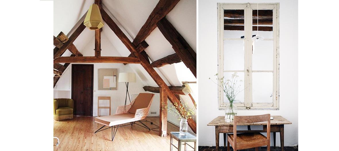 mobilier vintage, poutres apparentes, miroir piques