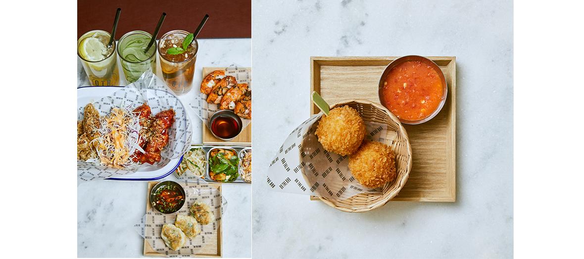 Bab Twigim arancini asiatiques au kimchi et fromage, cocktail Ginger Sparkling au gingembre, miel et yuzu, thé glacé à la prune, bao mania