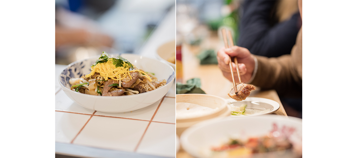 sauteed noodles with beef and Peking duck in Paris