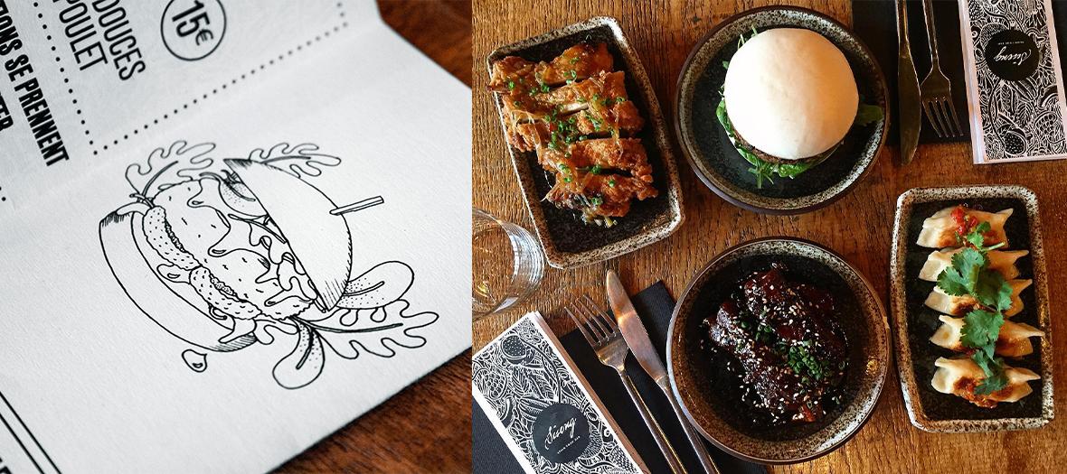Plats de bao burger, steak de bœuf mariné, poulet pané et le menu du restaurant  Siseng
