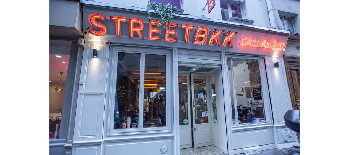 Front facade of street bkk restaurant  in Paris