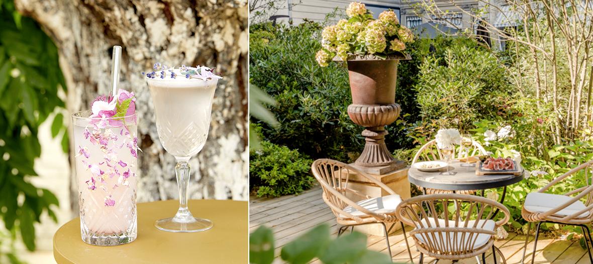 Jardin à cocktails dans le 8e avec le cocktail Rose au gin-framboise-litchi et le cocktail Violette Violette au pisco-cassis