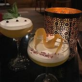 Interior decoration and Sada & Kitchiod Cocktails with vodka, gin, shiso, yuzu, Japanese tangerine liqueur, elderflower liqueur, Champagne and bitter Grapefruits from Demon Bar
