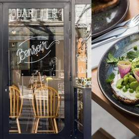 Burrata from the Puglia region and glazed veggies at the Bonjour Bonsoir restaurant in Paris