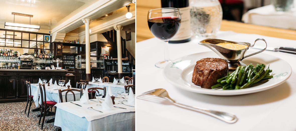 Salle de restaurant et filet de bœuf sauce aux morilles avec haricots verts