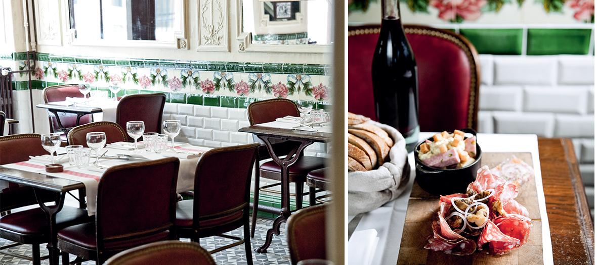 Salle de restaurant et assiette de charcuterie du bistrot aux lyonnais